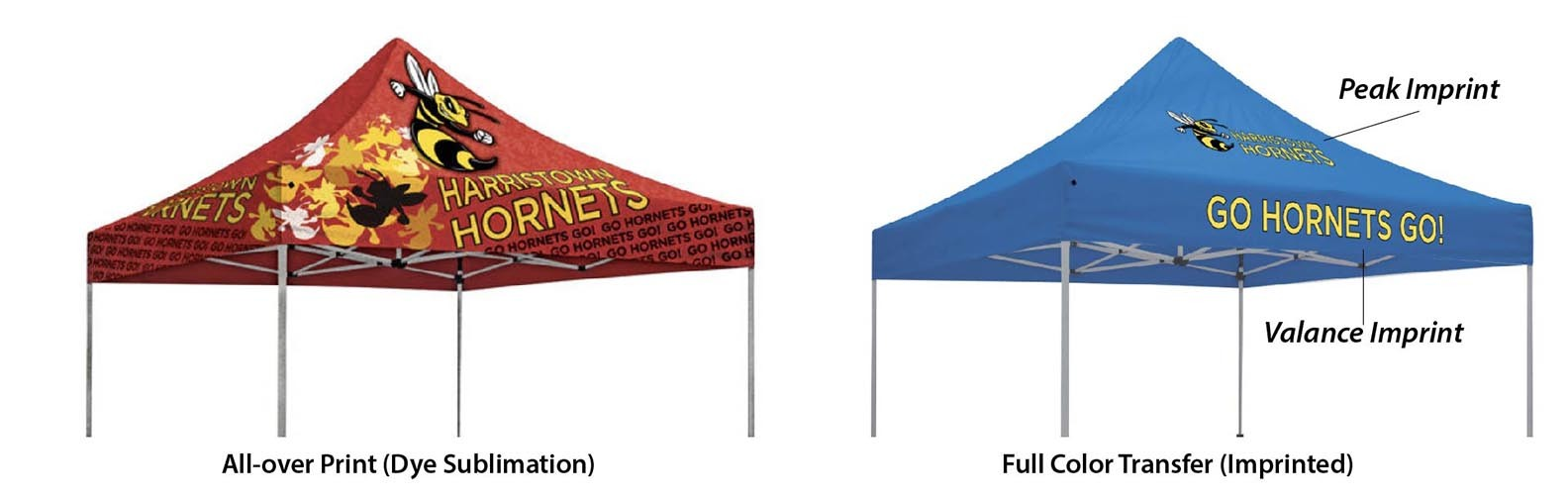 sublimated and imprinted canopy tent