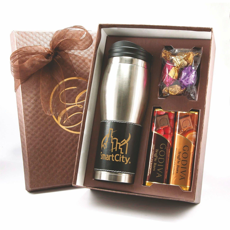 custom branded Godiva tumbler gift set