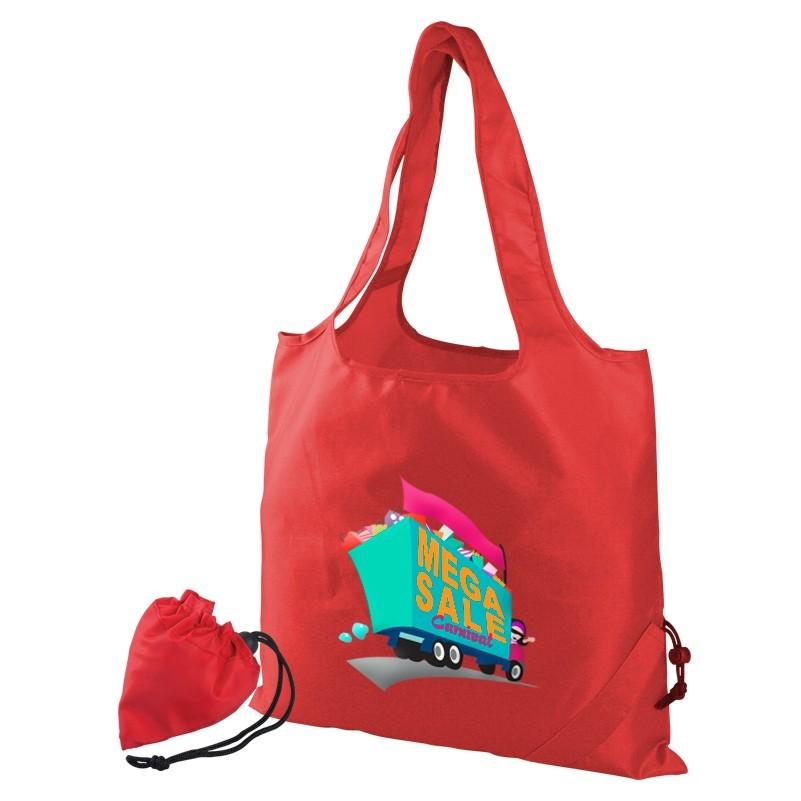 custom printed foldaway tote bag pouch