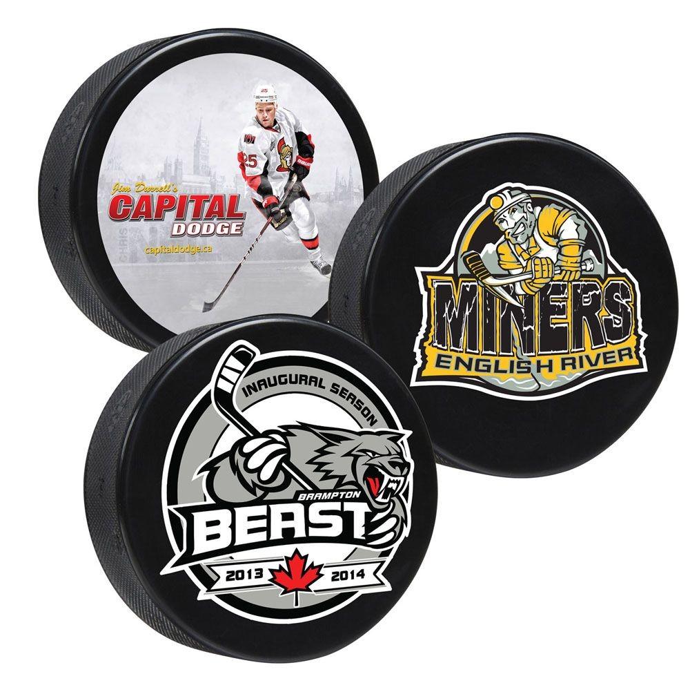 custom printed hockey puck