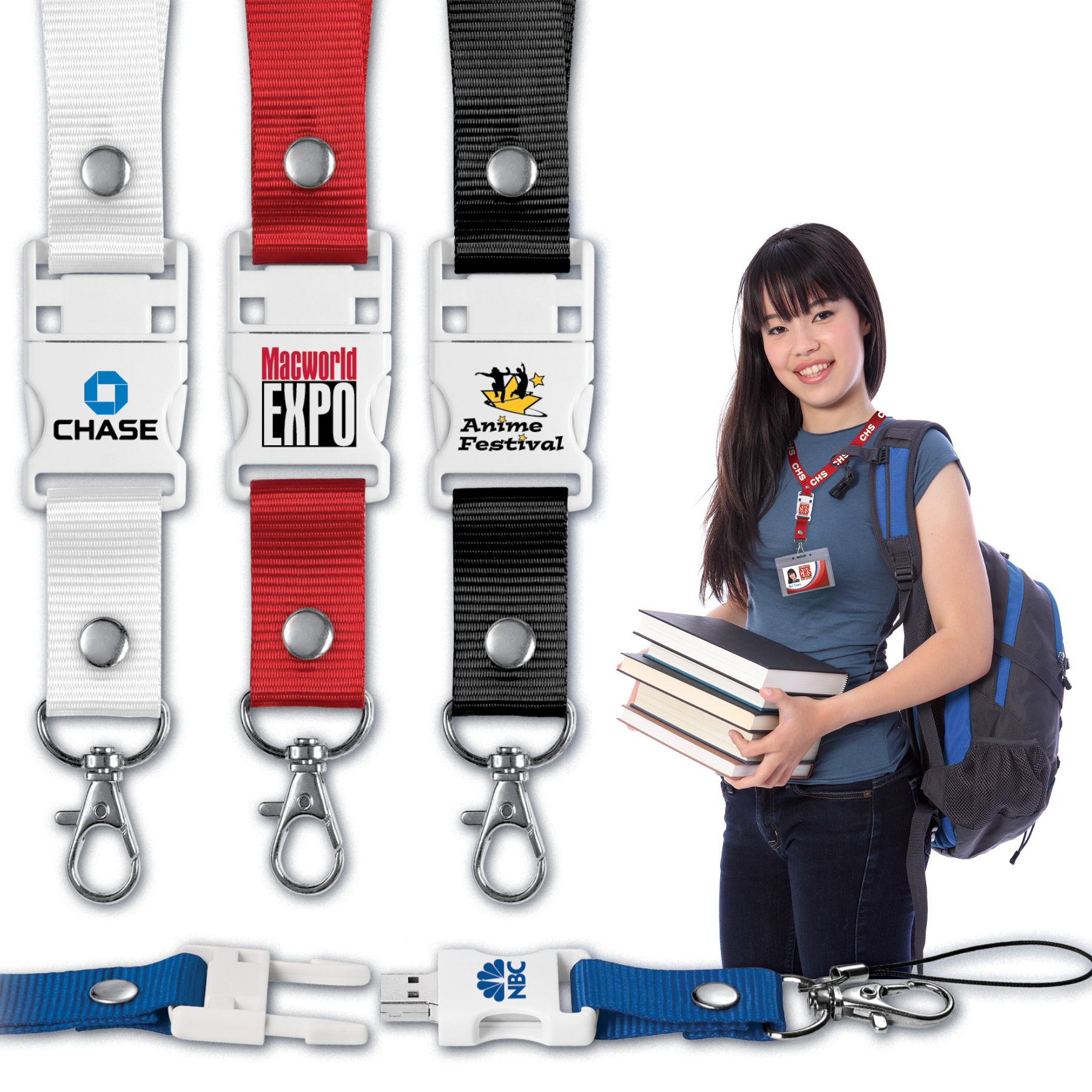 custom printed USB 2.0 lanyard flash drive