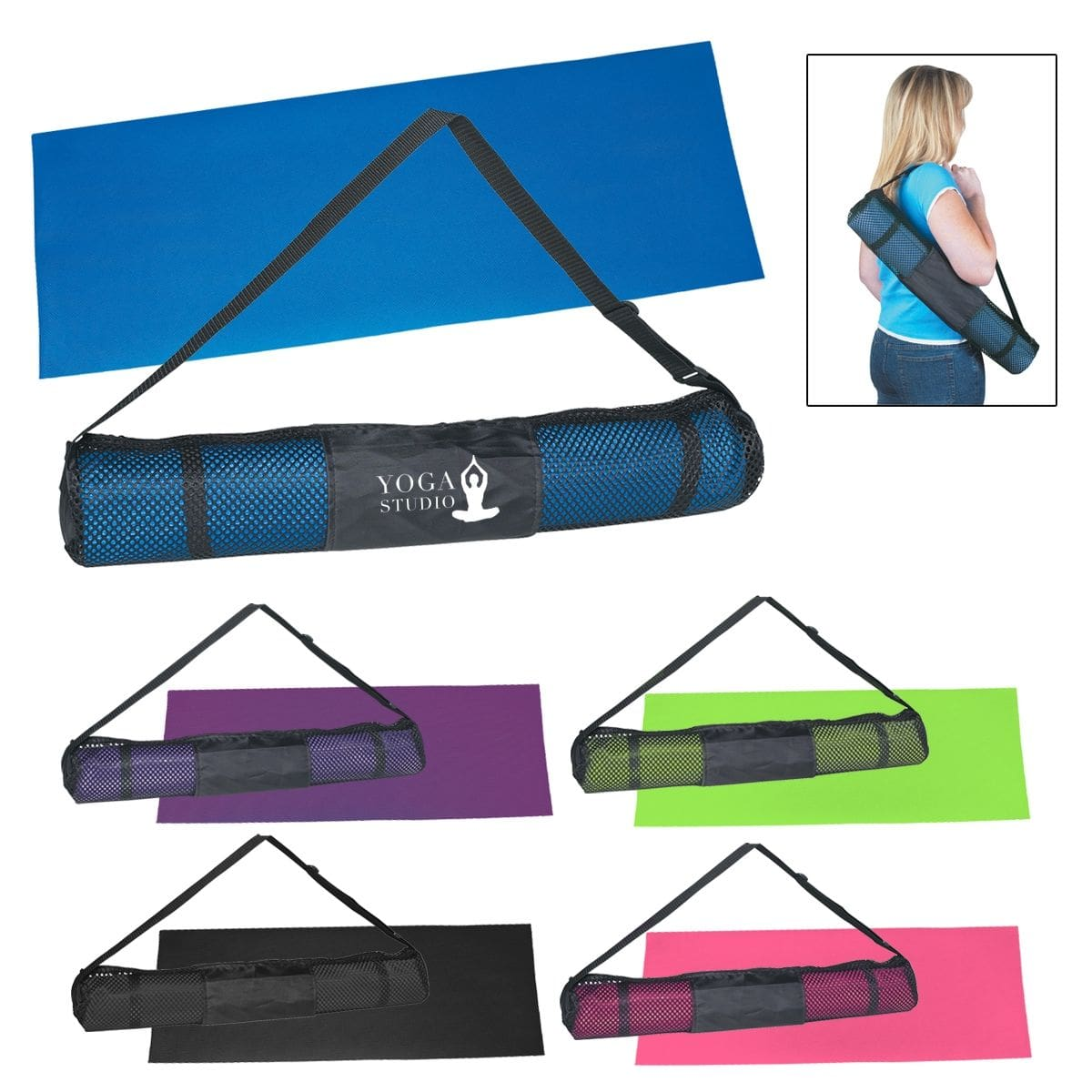 custom printed yoga mat and carrying case