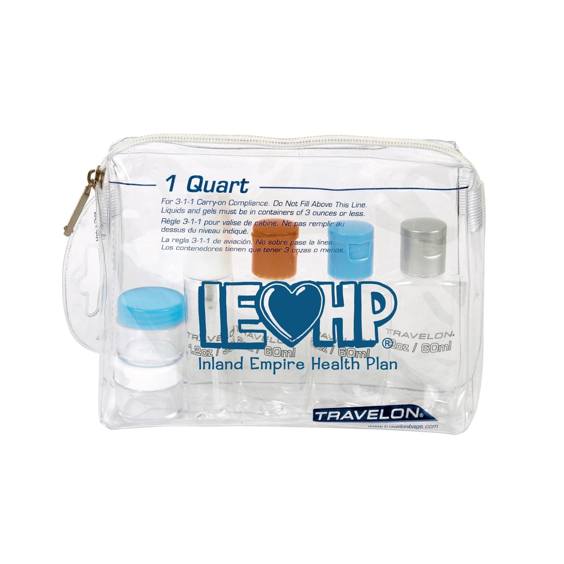 custom printed clear bag with logo TSA requirement