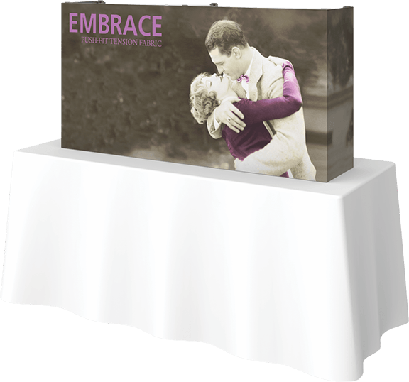 Embrace- 5'-rectangle- table top- table top display- display- trade show- local- VA