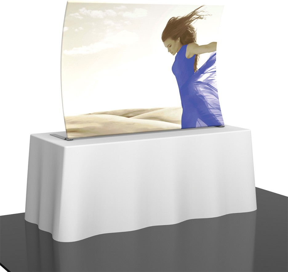 vertical curved fabric table top display DC NYC