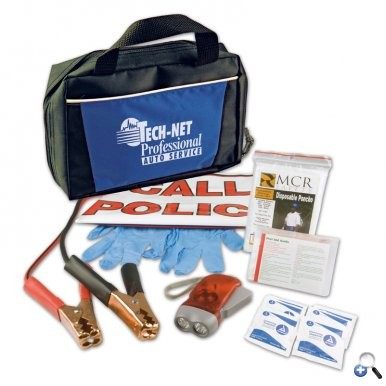 logo branded emergency road kit