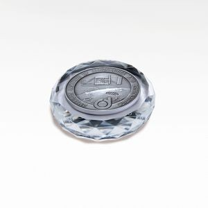 Faceted Optic Crystal Round Paperweight with Medallion